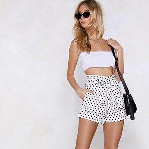 Nastygal Black and White Polka Dot Shorts
